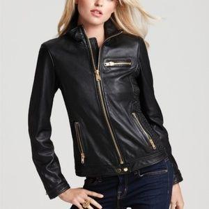 Via Spiga Gold Zip Black Leather Jacket